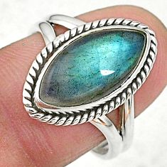 6.74cts solitaire natural blue labradorite 925 silver ring size 8 t11007