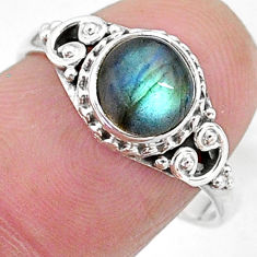 2.43cts solitaire natural blue labradorite 925 silver ring size 8 t11278