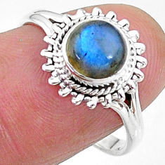 2.43cts solitaire natural blue labradorite 925 silver ring size 8 t11294