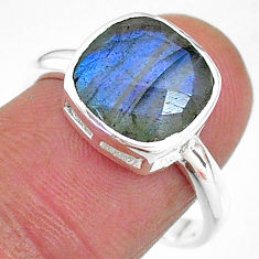 5.07cts solitaire natural blue labradorite 925 silver ring size 8 t11324