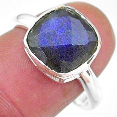 4.56cts solitaire natural blue labradorite 925 silver ring size 8 t11335