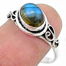2.31cts solitaire natural blue labradorite 925 silver ring size 8 t15676