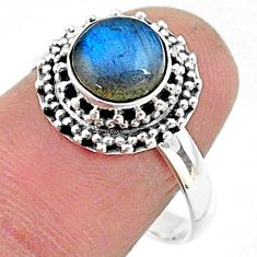 2.70cts solitaire natural blue labradorite 925 silver ring size 8 t15759
