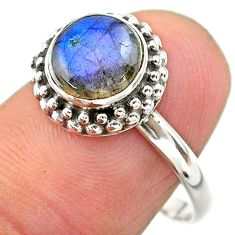 2.73cts solitaire natural blue labradorite 925 silver ring size 8 t26091