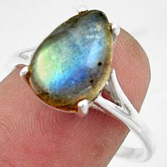 5.22cts solitaire natural blue labradorite 925 silver ring size 9 r41913