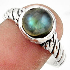 3.18cts solitaire natural blue labradorite 925 silver ring size 9 r41973