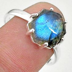5.20cts solitaire natural blue labradorite 925 silver ring size 9 t11101