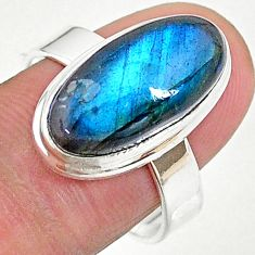 8.19cts solitaire natural blue labradorite 925 silver ring size 9 t18165