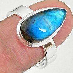 6.05cts solitaire natural blue labradorite 925 silver ring size 9 t18175