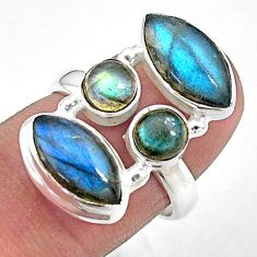 13.16cts solitaire natural blue labradorite 925 silver ring size 6.5 t10340