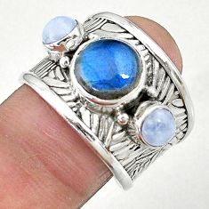 5.81cts solitaire natural blue labradorite 925 silver ring size 8.5 t10398
