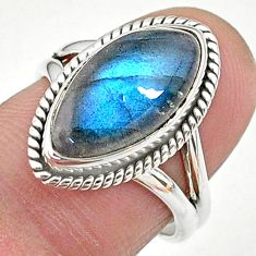 7.02cts solitaire natural blue labradorite 925 silver ring size 6.5 t11015