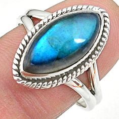 7.25cts solitaire natural blue labradorite 925 silver ring size 8.5 t11016