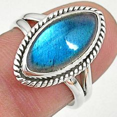 6.72cts solitaire natural blue labradorite 925 silver ring size 6.5 t11018