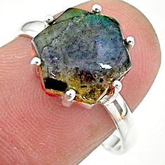 5.15cts solitaire natural blue labradorite 925 silver ring size 7.5 t11104