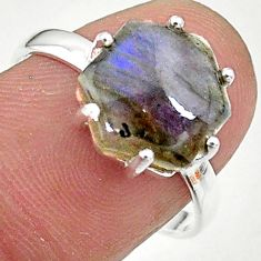 5.20cts solitaire natural blue labradorite 925 silver ring size 7.5 t11109