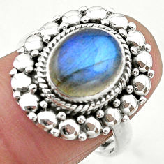 4.06cts solitaire natural blue labradorite 925 silver ring size 7.5 t20076