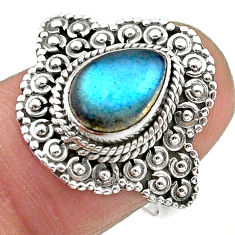 2.41cts solitaire natural blue labradorite 925 silver ring size 7.5 t20136
