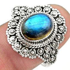 4.03cts solitaire natural blue labradorite 925 silver ring size 8.5 t20137