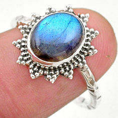 3.91cts solitaire natural blue labradorite 925 silver ring size 7.5 t25315