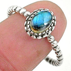 1.36cts solitaire natural blue labradorite 925 silver ring size 9.5 t6358