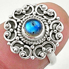0.76cts solitaire natural blue labradorite 925 sterling silver ring size 5 t3651