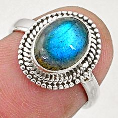 2.87cts solitaire natural blue labradorite 925 sterling silver ring size 5 t5079