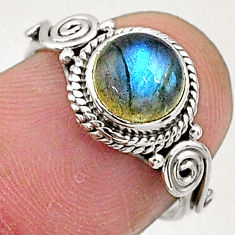 2.42cts solitaire natural blue labradorite 925 sterling silver ring size 6 t5041