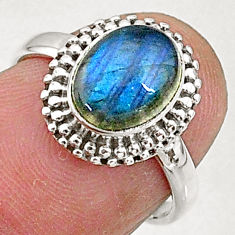 3.05cts solitaire natural blue labradorite 925 sterling silver ring size 6 t5048
