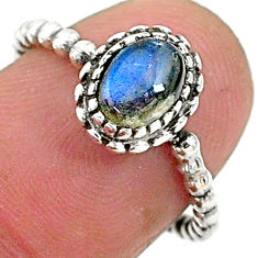 1.52cts solitaire natural blue labradorite 925 sterling silver ring size 6 t6357