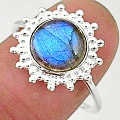 4.63cts solitaire natural blue labradorite 925 sterling silver ring size 8 t1590