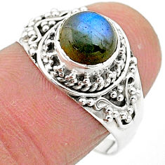 2.43cts solitaire natural blue labradorite 925 sterling silver ring size 8 t3545
