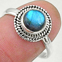 2.40cts solitaire natural blue labradorite 925 sterling silver ring size 8 t5057