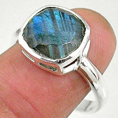 4.52cts solitaire natural blue labradorite 925 sterling silver ring size 8 t8203