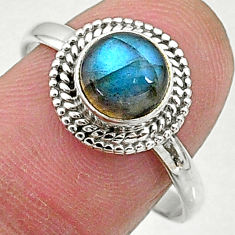 2.46cts solitaire natural blue labradorite 925 sterling silver ring size 9 t5058