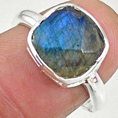 5.45cts solitaire natural blue labradorite 925 sterling silver ring size 9 t8216