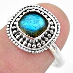2.73cts solitaire natural blue labradorite cushion 925 silver ring size 8 t46139