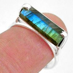 4.71cts solitaire natural blue labradorite fancy 925 silver ring size 7 t36215
