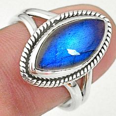 7.50cts solitaire natural blue labradorite marquise silver ring size 8 t11004