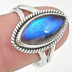 6.98cts solitaire natural blue labradorite marquise silver ring size 7.5 t11017