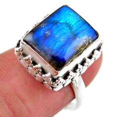 5.30cts solitaire natural blue labradorite octagan 925 silver ring size 6 r51532