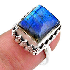 5.25cts solitaire natural blue labradorite octagan 925 silver ring size 7 r51533