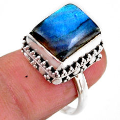 5.30cts solitaire natural blue labradorite octagan 925 silver ring size 7 r51543