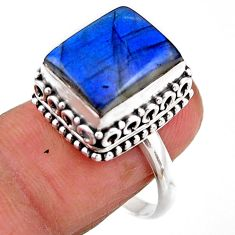4.82cts solitaire natural blue labradorite octagan 925 silver ring size 8 r51542