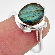 5.11cts solitaire natural blue labradorite oval 925 silver ring size 7.5 r40819