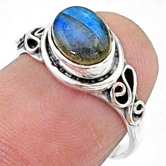 2.15cts solitaire natural blue labradorite oval 925 silver ring size 6 t15675
