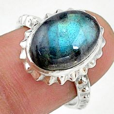 6.35cts solitaire natural blue labradorite oval 925 silver ring size 7 t15419