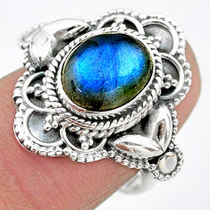 4.07cts solitaire natural blue labradorite oval 925 silver ring size 7 t20037