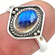 2.42cts solitaire natural blue labradorite oval 925 silver ring size 7 t28418