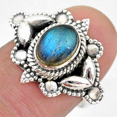 2.01cts solitaire natural blue labradorite oval 925 silver ring size 7 t43979